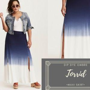 NWOT Torrid Dip Dye Slit Jersey Maxi Skirt 00 (10)